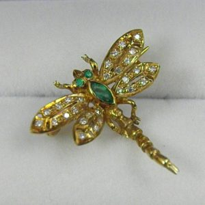 Estate Diamond   Emerald Dragonfly Brooch 1