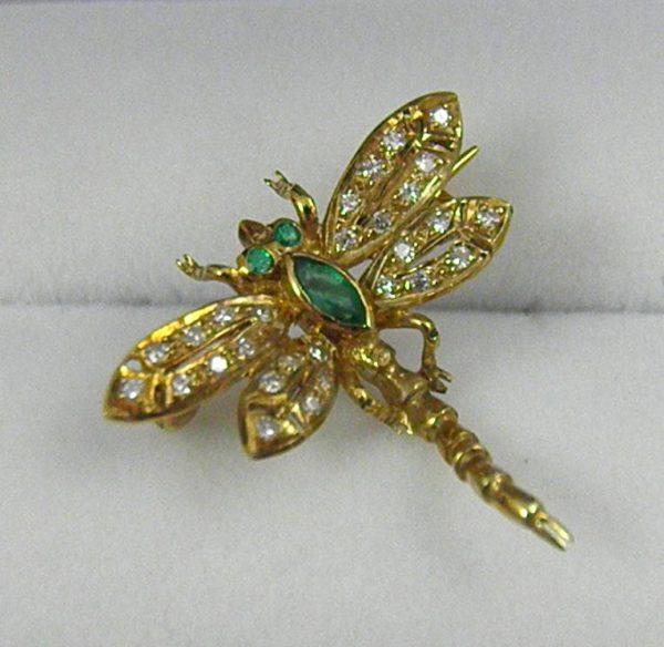 Estate Diamond   Emerald Dragonfly Brooch 1