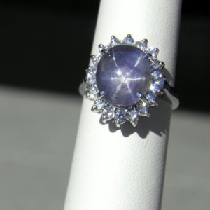 Estate Halo Ring with 10ct Round Blue Star Sapphire 1