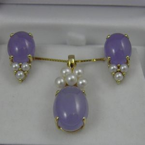Estate Lavender Jade and Pearl Pendant   Earrings 1