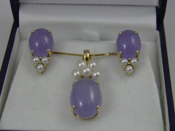 Estate Lavender Jade and Pearl Pendant   Earrings 1