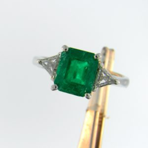 Estate Platinum Ring with 3ct Emerald and Trillion Diamonds 1