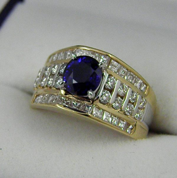 Estate Ring with 1ct Burmese Blue Sapphire and Diamonds 1