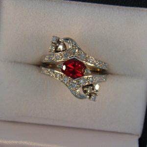 Estate Ring with red Oregon Sunstone and Diamonds 1
