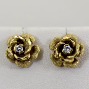Estate Rose Earrings with Diamonds c.1970 1