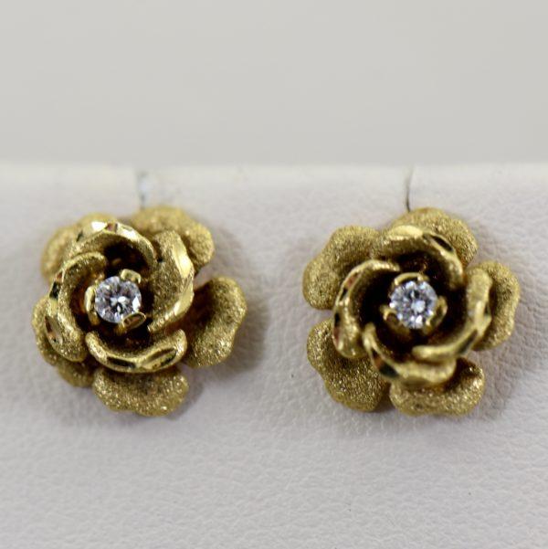 Estate Rose Earrings with Diamonds c.1970 1