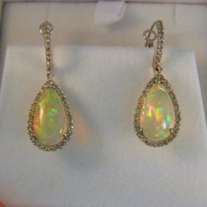 Ethiopian Opal Halo Earrings