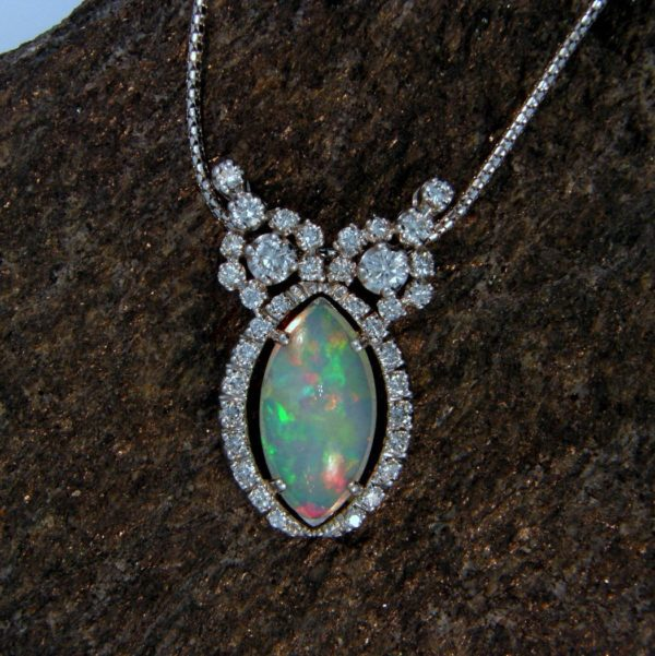 Ethiopian Opal Pendant Made from a Deco Cocktail Watch 1