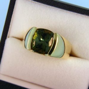 Green Tourmaline Mens Ring