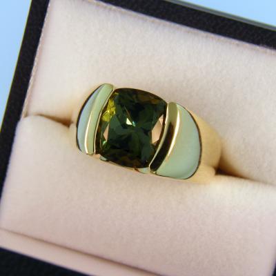 Green Tourmaline Mens Ring