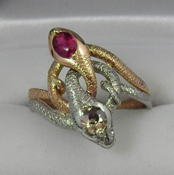 Late Victorian Snake Ring Plat and Rose Gold with Champagne Diamond and Ruby 1
