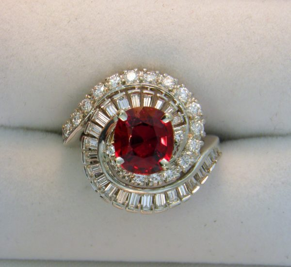 Mid Century Cocktail Ring with Gem Red Spinel 1