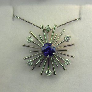 Mid Century Sapphire and Diamond Star or Satellite c.1960 1