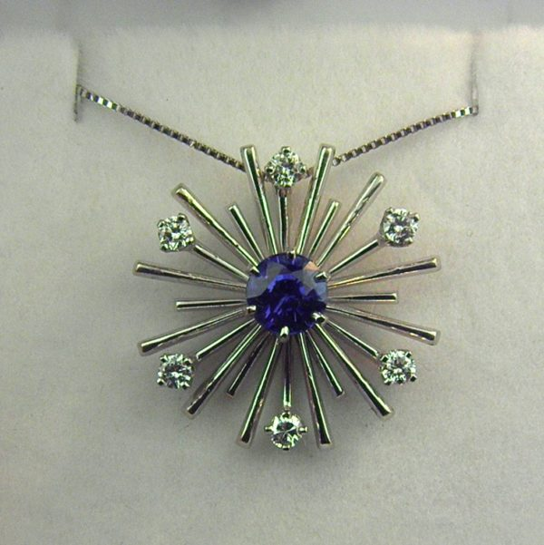 Mid Century Sapphire and Diamond Star or Satellite c.1960 1