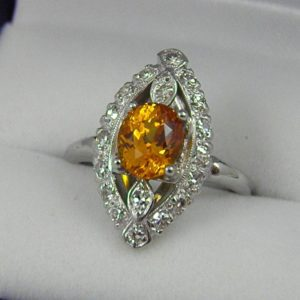 Mid Century Yellow Sapphire and Diamond Ring 1