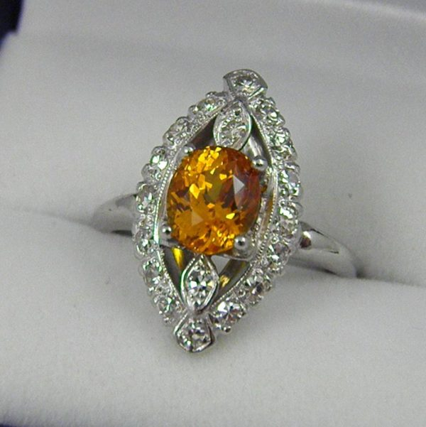 Mid Century Yellow Sapphire and Diamond Ring 1
