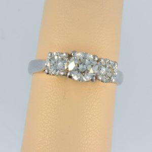 Modern Estate Diamond Three Stone Ring 1.75ctw 1