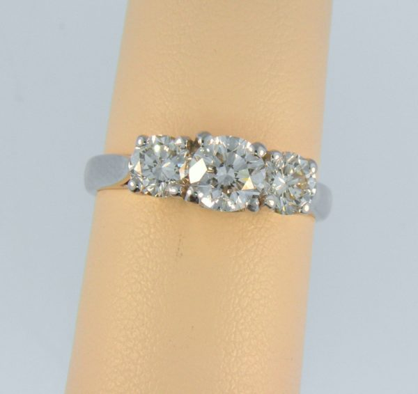 Modern Estate Diamond Three Stone Ring 1.75ctw 1