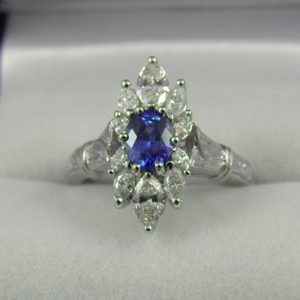 Modern Estate Sapphire and Diamond Ring 1