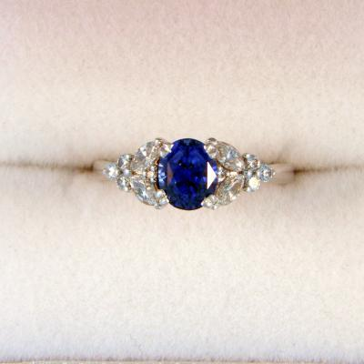 Blue Sapphire Marquise Diamond Engagement Ring Federal Way Custom Jewelers