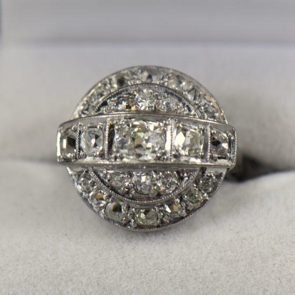 Old Mine Cut Diamond Cocktail Ring c1950s 1