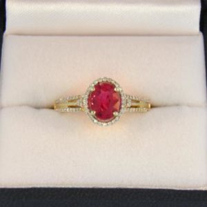 Oval Red Spinel Halo Ring