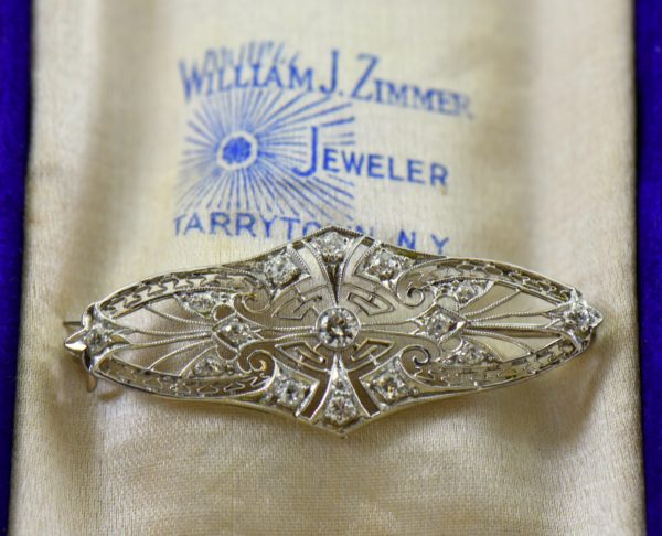 Platinum Filigree and Diamond Brooch c.1920 1