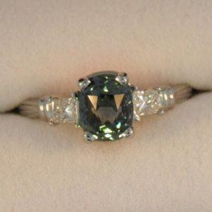 Platinum Teal Sapphire Ring