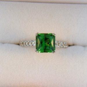 Radiant Cut Tsavorite Ring