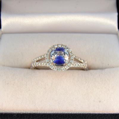 Unusual Bicolor Sapphire Halo Ring