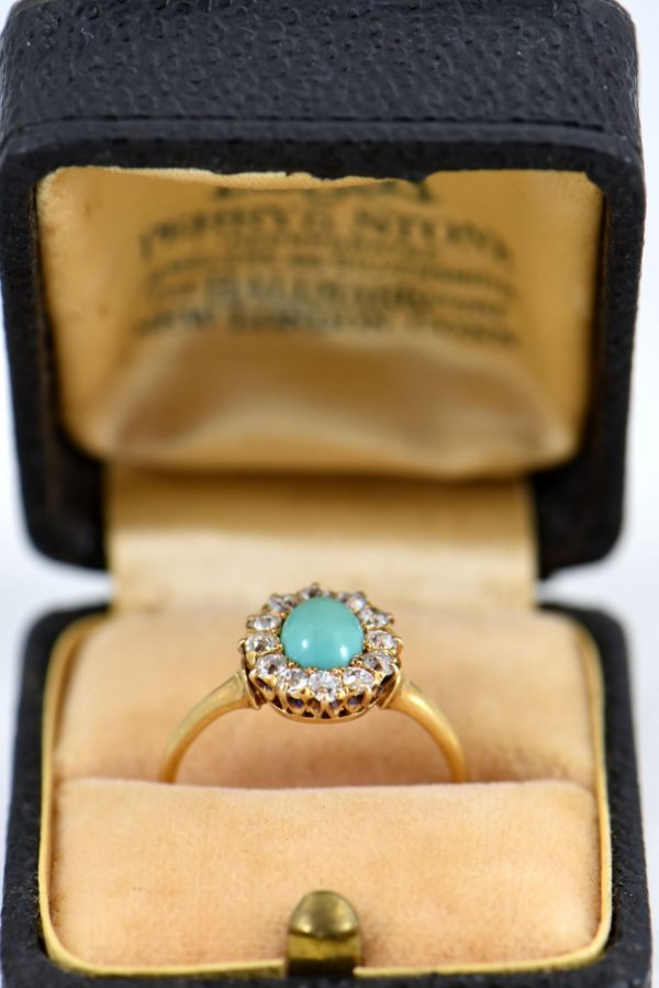 Victorian Persian Turquoise   Diamond Halo Ring 1