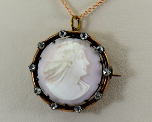 Victorian Coral Cameo with Rose Cut Diamonds 1