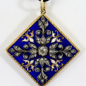 Victorian French Silver over Gold Pendant with Diamonds and Enamel 1
