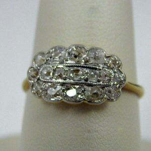 Victorian Ring with very Old Mine Cut Diamonds 1