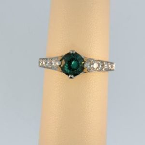 Vintage Green Tourmaline in Platinum Ring