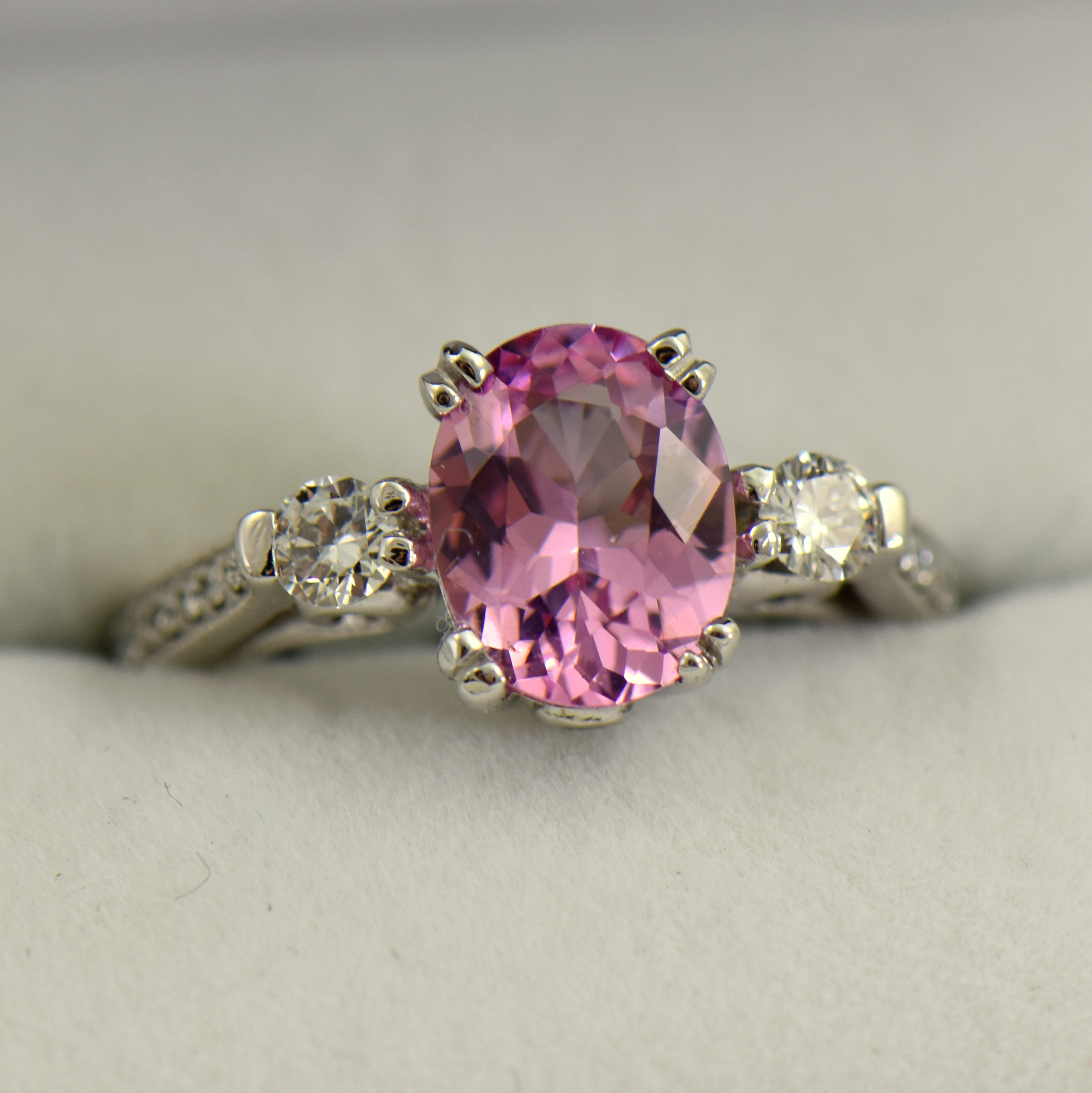 Baby Pink Spinel And Diamond 3 Stone Engagement Ring