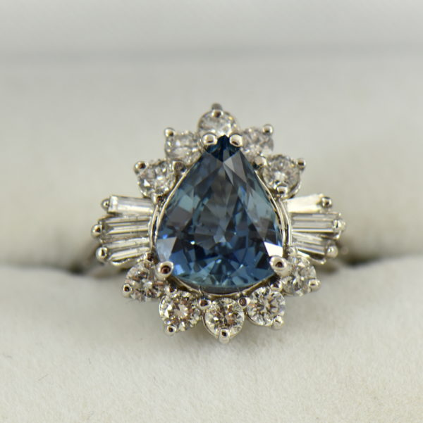 Denim Blue Pear Shape Sapphire and Diamond Cocktail Ring White Gold