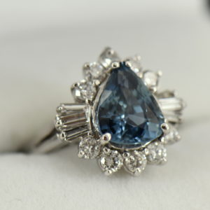 Denim Blue Pear Shape Sapphire and Diamond Cocktail Ring White Gold 2