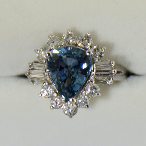 Denim Blue Pear Shape Sapphire and Diamond Cocktail Ring White Gold 4