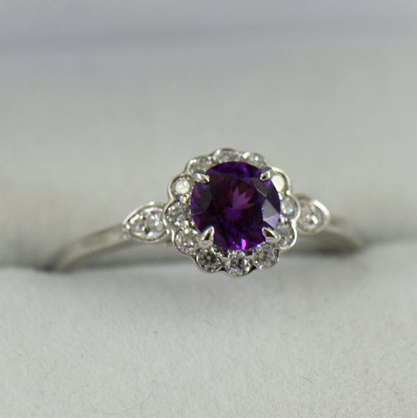 Mozambique Purple Garnet Ring with Diamonds in White Gold