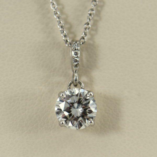 1ct Round Diamond White Gold Pendant VS2 G