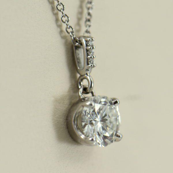 1ct Round Diamond White Gold Pendant VS2 G 2