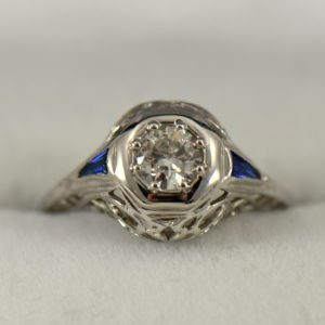 Art Deco Diamond and Sapphire Die struck Ring Restoration
