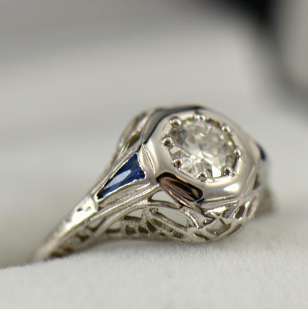 Art Deco Diamond and Sapphire Die struck Ring Restoration 2