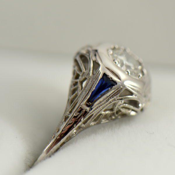 Art Deco Diamond and Sapphire Die struck Ring Restoration 3