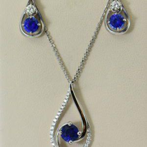Ceylon Blue Sapphire and Diamond Pendant and Earring Set