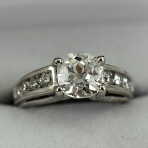Custom Diamond Ring with 2.25ct Old Mine Cut Diamond SI1 H