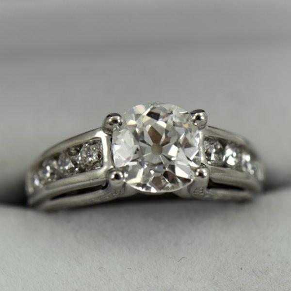Custom Diamond Ring with 2.25ct Old Mine Cut Diamond SI1 H