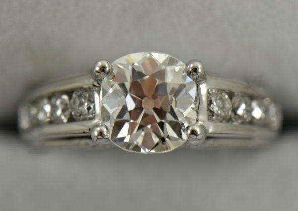 Custom Diamond Ring with 2.25ct Old Mine Cut Diamond SI1 H 3