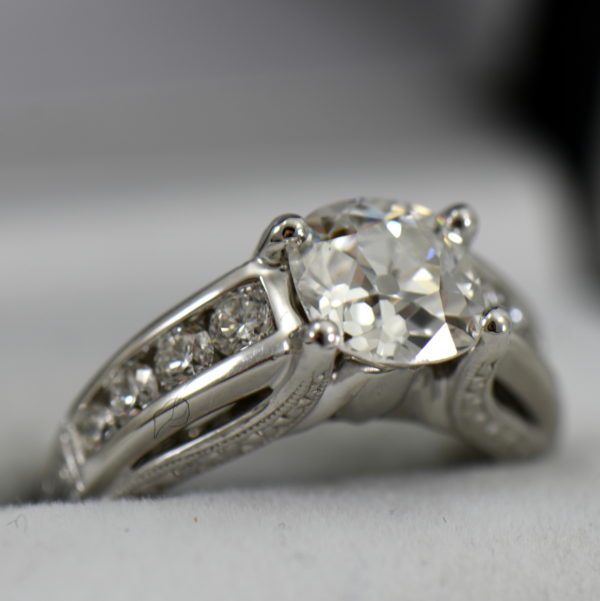 Custom Diamond Ring with 2.25ct Old Mine Cut Diamond SI1 H  2